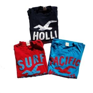 Hollister Shirt Size Small Black Red Blue Lot